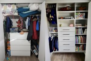 Kids Room organization before and after photo